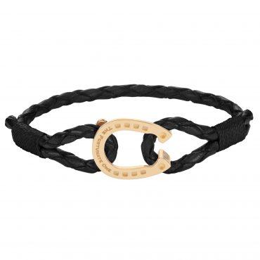 Hästsko-smycken-armband-svart-guld-fram