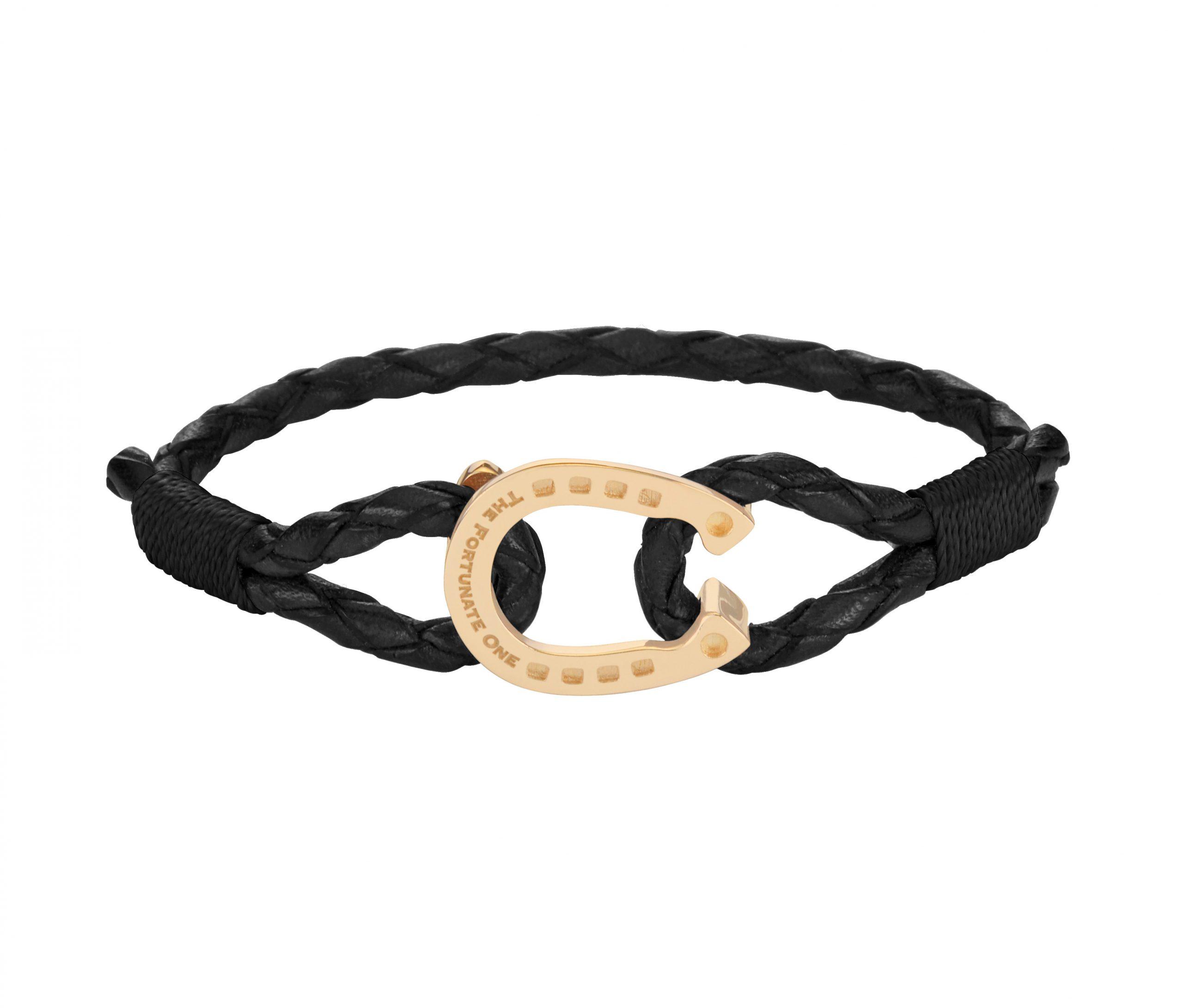 Horseshoe-Jewellery-Bracelet-Black-Gold-front