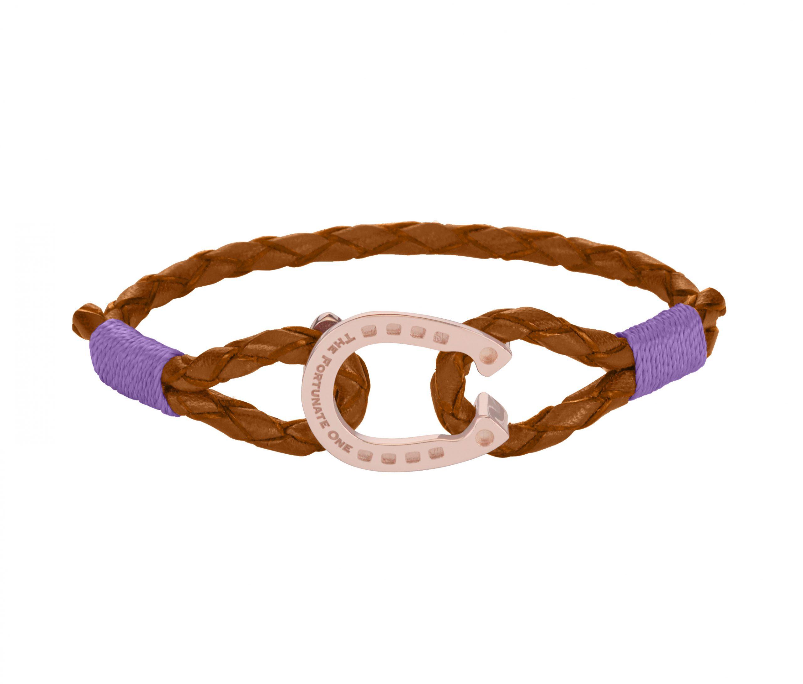 Horseshoe-jewellery-Rose-Purple-Palomino-Leather-Bracelet-front