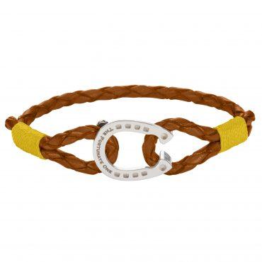 Horseshoe-jewellery-Silver-Yellow-Palomino-Leather-Bracelet-front
