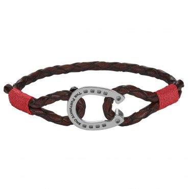 Horseshoe-jewellery-steel-Clydesdale-ruby-brown-the-fortunate-one-front