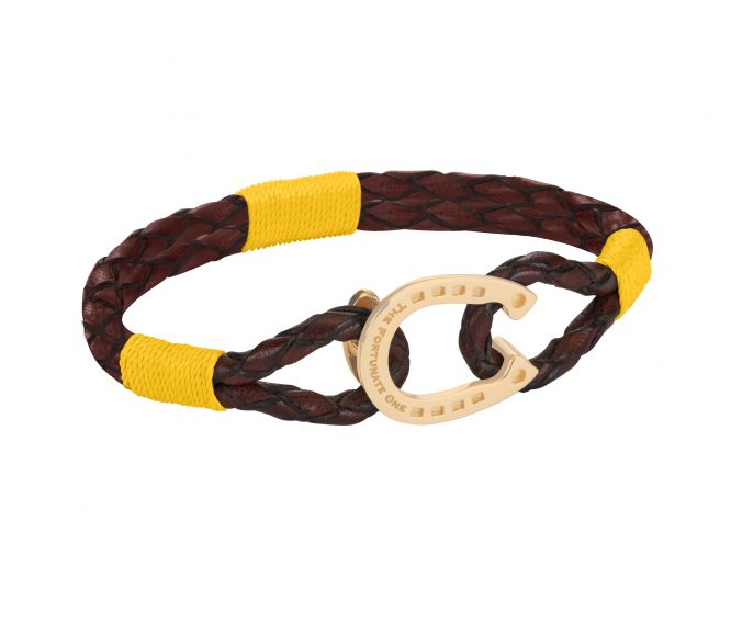 The Golden Yellow Bright Clydesdale_horseshoe_jewellery_side